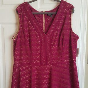 Magenta Dress with Geometric Pattern